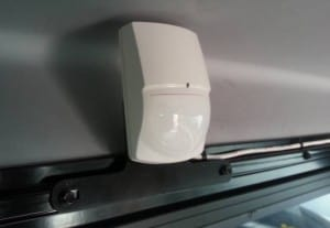 PIR sensor mounted with custom bracket for a tidy and solid installation.