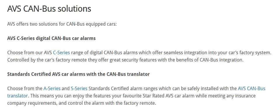 AVS Certified CAN-BUS alarms